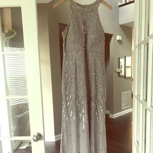 Long gray/silver sequin dress